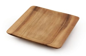 "Acacia Wood Square Dinner Plate 1"" x 8"" x 8"""