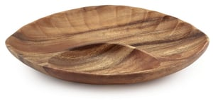 "Acacia Wood Shell Tray 13"" x 9""X1.5"""