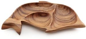 "Acacia Wood 3 Container Dolphin Tray 1.5"" x 16"""