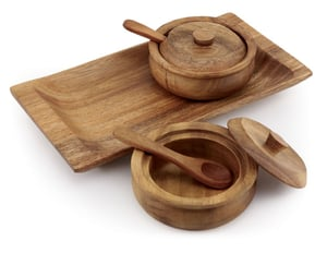 Acacia Wood Round Condiment Set of 2 with Tray