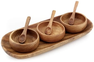 Acacia Wood Round Condiment Set of 3 with Tray