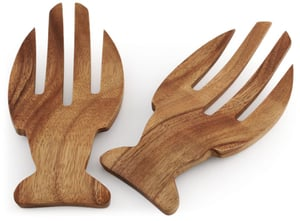Acacia Wood Fish Salad Hands