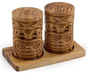 Acacia Wood Tiki Salt & Pepper Shakers