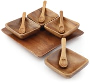 Acacia Wood Square Condiment Set of 4 with Tray
